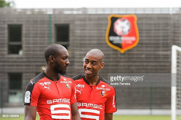Giovanni Sio of Rennes and Gelson Fernandes of Rennes during the presentation of the Stade Rennais Team on September 12 2016 in Rennes France