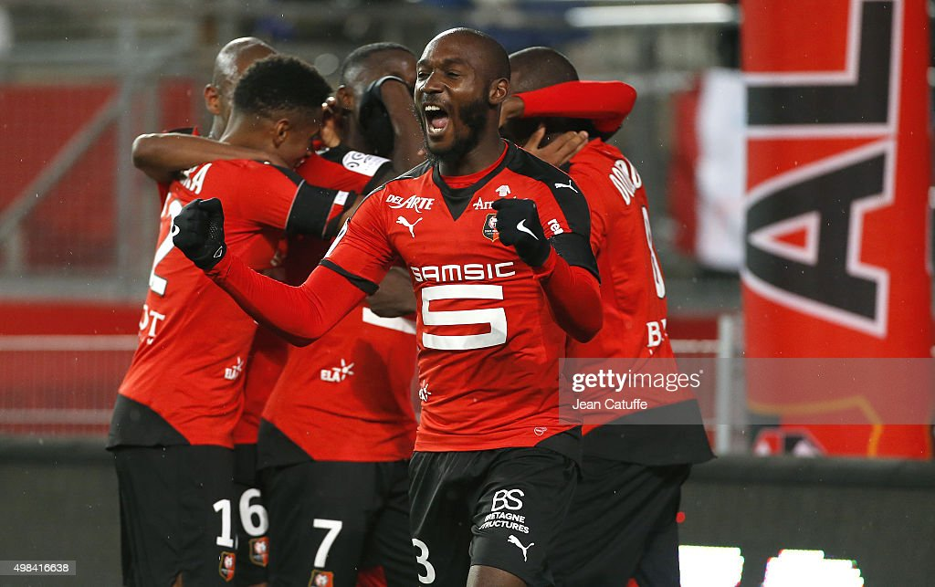 <a gi-track='captionPersonalityLinkClicked' href=/galleries/search?phrase=Giovanni+Sio&family=editorial&specificpeople=7023343 ng-click='$event.stopPropagation()'>Giovanni Sio</a> of Rennes celebrates the goal of his teammate Ousmane Dembele during the French Ligue 1 match between Stade Rennais (Rennes) and Girondins de Bordeaux at Roazhon Park stadium on November 22, 2015 in Rennes France.