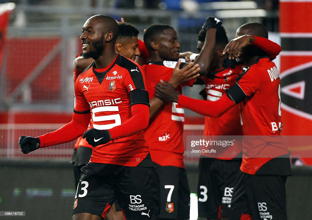 Giovanni Sio of Rennes celebrates the goal of his teammate Ousmane Dembele during the French Ligue 1 match between Stade Rennais and Girondins de...