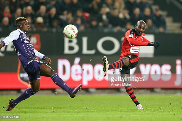 Giovanni Sio of Rennes during the French Ligue 1 match between Rennes and Toulouse at Roazhon Park on November 25 2016 in Rennes France