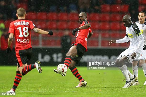 Giovanni Sio of Rennes during the Ligue 1 match between Stade Rennais and Sco Angers at Stade de la Route de Lorient on November 19 2016 in Rennes...