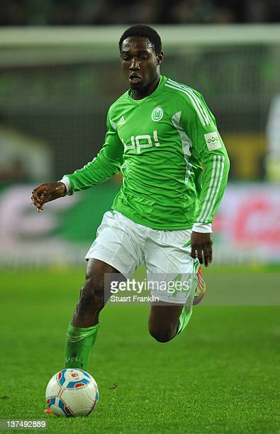 Giovanni Sio of Wolfsburg in action during the Bundesliga match between VfL Wolfsburg and 1 FC Koeln at Volkswagen Arena on January 21 2012 in...