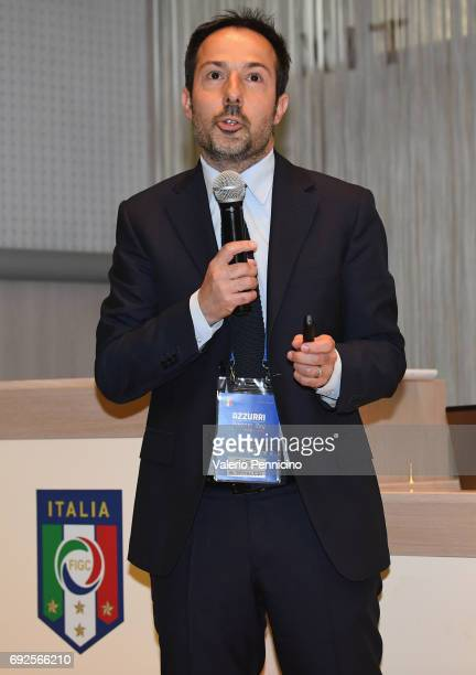 Giovanni Spitaleri delivers a speech during FIGC Partners Day at Coverciano on June 5 2017 in Florence Italy