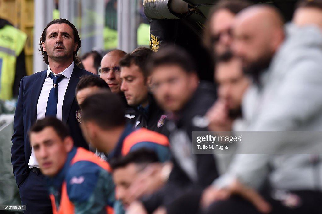 <a gi-track='captionPersonalityLinkClicked' href=/galleries/search?phrase=Giovanni+Tedesco&family=editorial&specificpeople=836317 ng-click='$event.stopPropagation()'>Giovanni Tedesco</a> coach of Palermo looks on during the Serie A match between US Citta di Palermo and Torino FC at Stadio Renzo Barbera on February 14, 2016 in Palermo, Italy.
