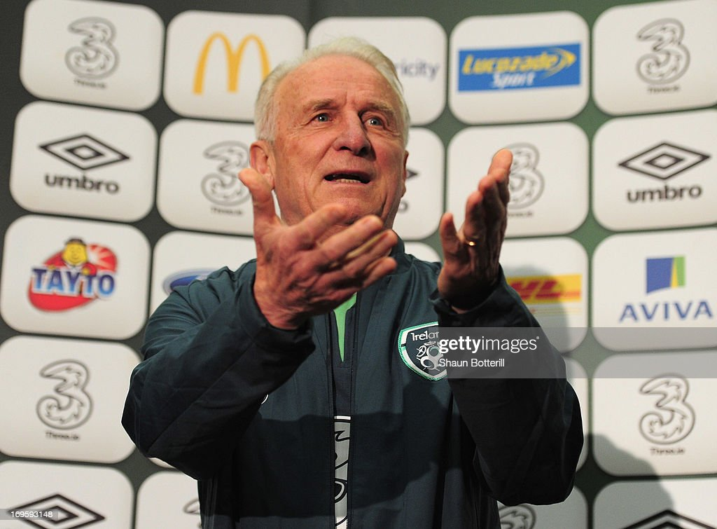 <a gi-track='captionPersonalityLinkClicked' href=/galleries/search?phrase=Giovanni+Trapattoni&family=editorial&specificpeople=209002 ng-click='$event.stopPropagation()'>Giovanni Trapattoni</a> the Republic of Ireland coach talks to the media during a press conference ahead of their international friendly against England at Wembley Stadium on May 28, 2013 in London, England.