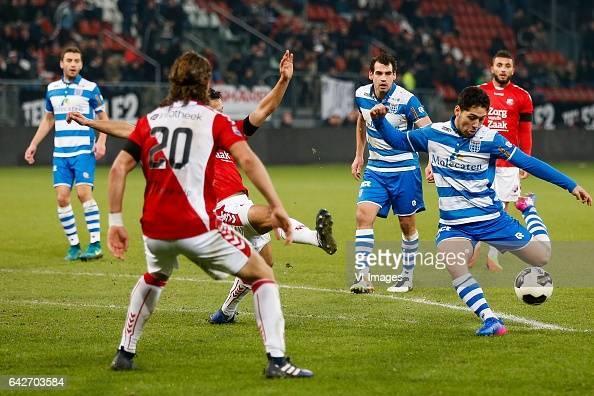 Giovanni Troupee of FC Utrecht Dirk Marcellis of PEC Zwolle Anass Achahbar of PEC Zwolle Zakaria Labyad of FC Utrechtduring the Dutch Eredivisie...