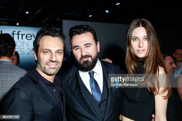 Giovanni Valentini Chris Salgardo and Nadejda Savcova attended the Jeffrey Fashion Cares show at Intrepid SeaAirSpace Museum on April 3 2017 in New...