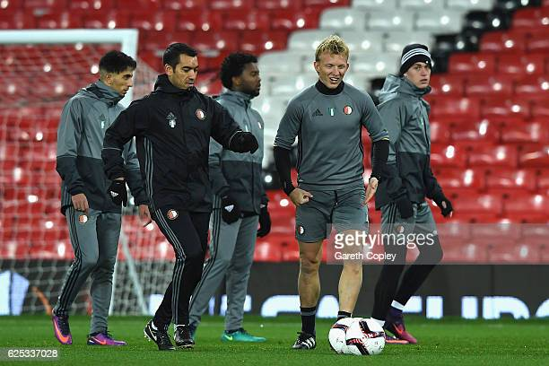 Giovanni Van Bronckhorst Manager of Feyenoord and h7 during the Feyenoord training session at Old Trafford on November 23 2016 in Manchester England
