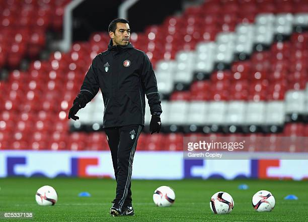 Giovanni Van Bronckhorst Manager of Feyenoord looks on during the Feyenoord training session at Old Trafford on November 23 2016 in Manchester England