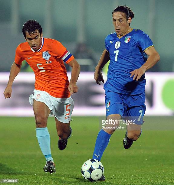 Giovanni van Bronckhorst of Holland and Mauro German Camoranesi of Italy in action during the International Friendly Match between Italy and Holland...