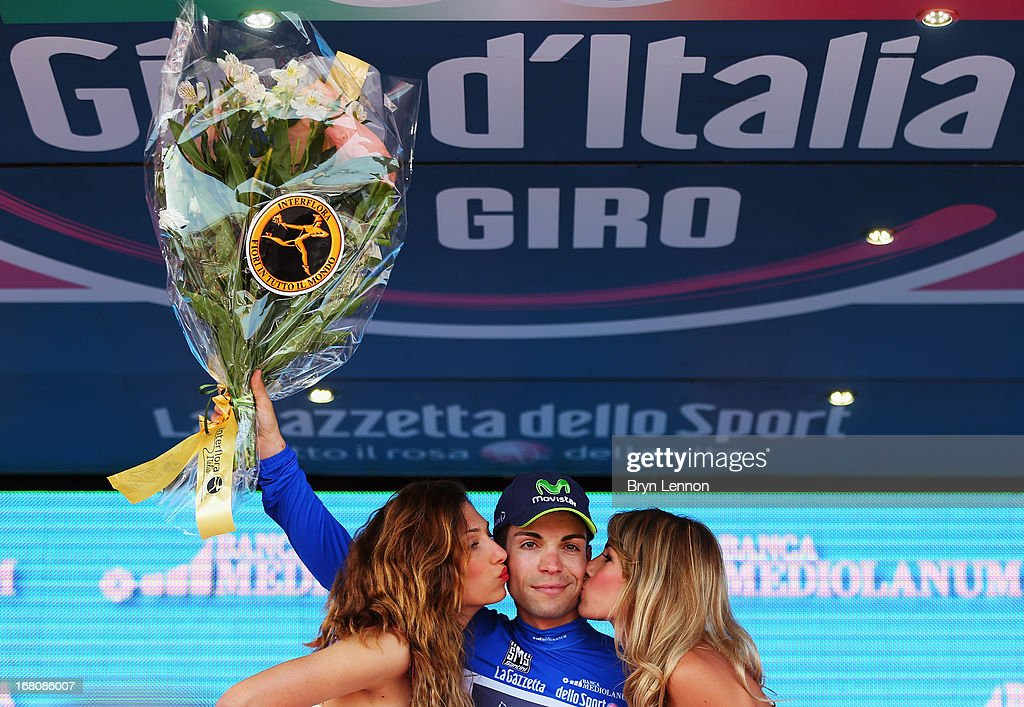 Giovanni Visconti of Italy and the Movistar Team took the Mountains jersey after stage one of the 2013 Giro d'Italia from Naples to Naples on May 4, 2013 in Naples, Italy.