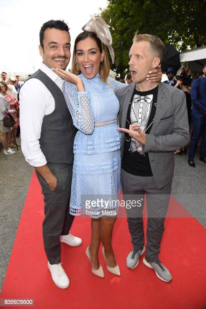 Giovanni Zarrella his wife Jana Ina Zarrella and Oliver Pocher during the Audi Ascot Race Day 2017 on August 20 2017 in Hanover Germany