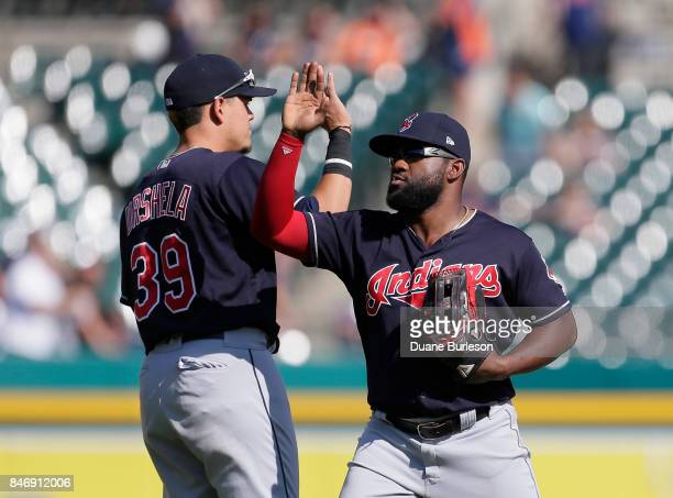 Giovanny Urshela of the Cleveland Indians and Abraham Almonte of the Cleveland Indians celebrates a win over the Detroit Tigers at Comerica Park on...