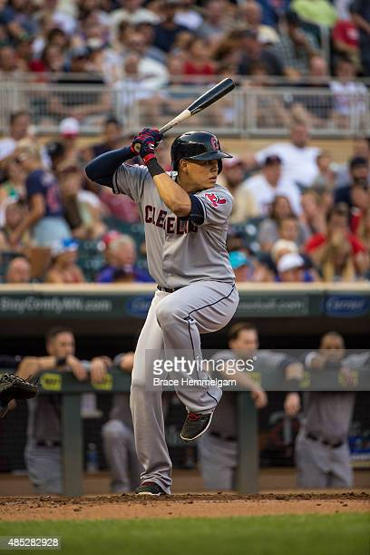 Giovanny Urshela of the Cleveland Indians bats against the Minnesota Twins on August 14 2015 at Target Field in Minneapolis Minnesota The Indians...
