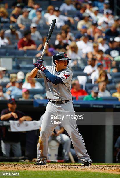 Giovanny Urshela of the Cleveland Indians bats against the New York Yankees during their game at Yankee Stadium on August 23 2015 in New York City