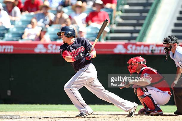 Giovanny Urshela of the Cleveland Indians bats during the game against the Los Angeles Angels of Anaheim at Angel Stadium of Anaheim on August 5 2015...