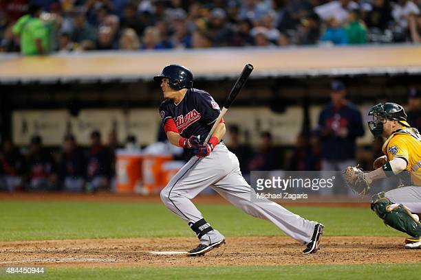 Giovanny Urshela of the Cleveland Indians bats during the game against the Oakland Athletics at Oco Coliseum on July 31 2015 in Oakland California...