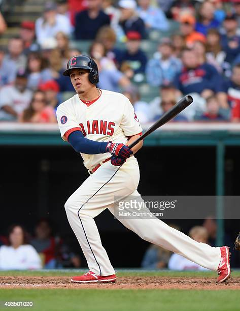 Giovanny Urshela of the Cleveland Indians bats during the game against the Boston Red Sox at Progressive Field on October 4 2015 in Cleveland Ohio...