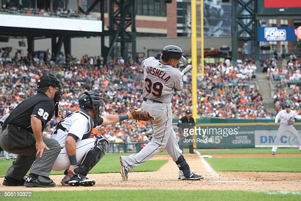 Giovanny Urshela of the Cleveland Indians bats during the game against the Detroit Tigers at Comerica Park on Saturday June 13 2015 in Detroit...