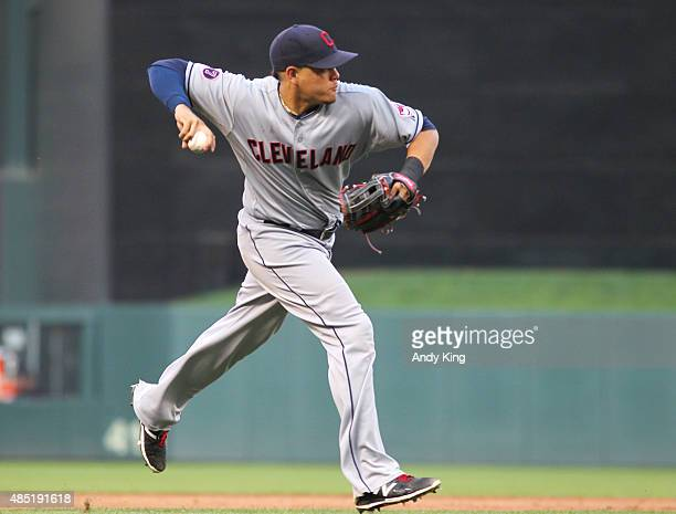 Giovanny Urshela of the Cleveland Indians before the MLB game action against the Minnesota Twins on August 15 2015 at Target Field in Minneapolis...