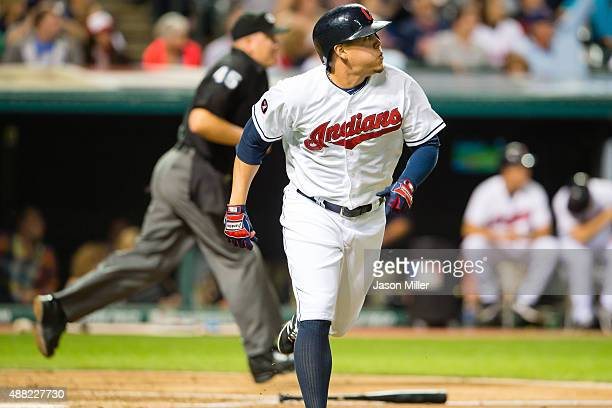 Giovanny Urshela of the Cleveland Indians rounds the bases after hitting a solo home run during the fourth inning against the Kansas City Royals at...
