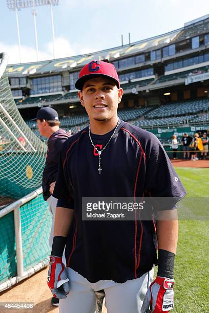 Giovanny Urshela of the Cleveland Indians stands on the field prior to the game against the Oakland Athletics at Oco Coliseum on July 31 2015 in...