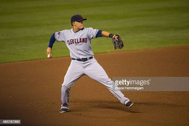 Giovanny Urshela of the Cleveland Indians throws against the Minnesota Twins on August 14 2015 at Target Field in Minneapolis Minnesota The Indians...