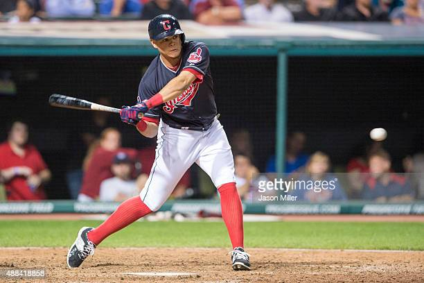 Giovanny Urshela of the Cleveland Indians up to bat during the eighth inning against the New York Yankees at Progressive Field on August 12 2015 in...