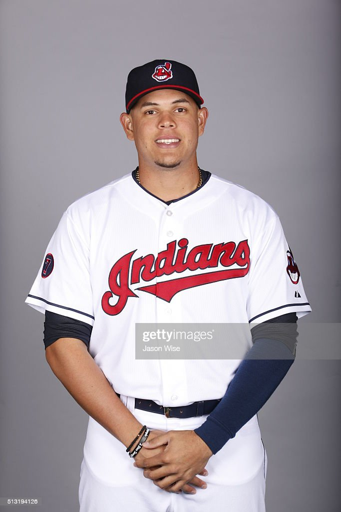 Giovanny Urshela #39 of the Indians poses during Photo Day on Saturday, February 27, 2016 at Goodyear Ballpark in Goodyear, Arizona.