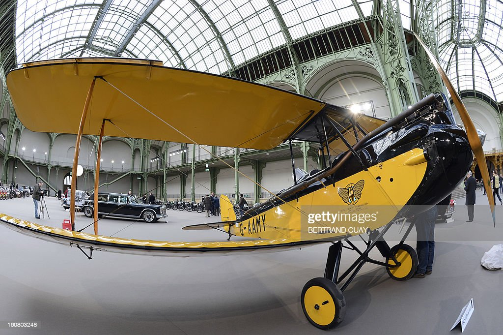 A Gipsy Moth De Havilland plane (1929) featured in the 'Out of Africa' film is pictured as luxury vintages cars are displayed at an auction at the Grand Palais on February 6, 2013 in Paris. 125 vintage motor cars, 100 collection motorbikes and a 1920's Gipsy Moth plane by De Havilland, will be presented at the Bonhams auction on February 7. AFP PHOTO BERTRAND GUAY