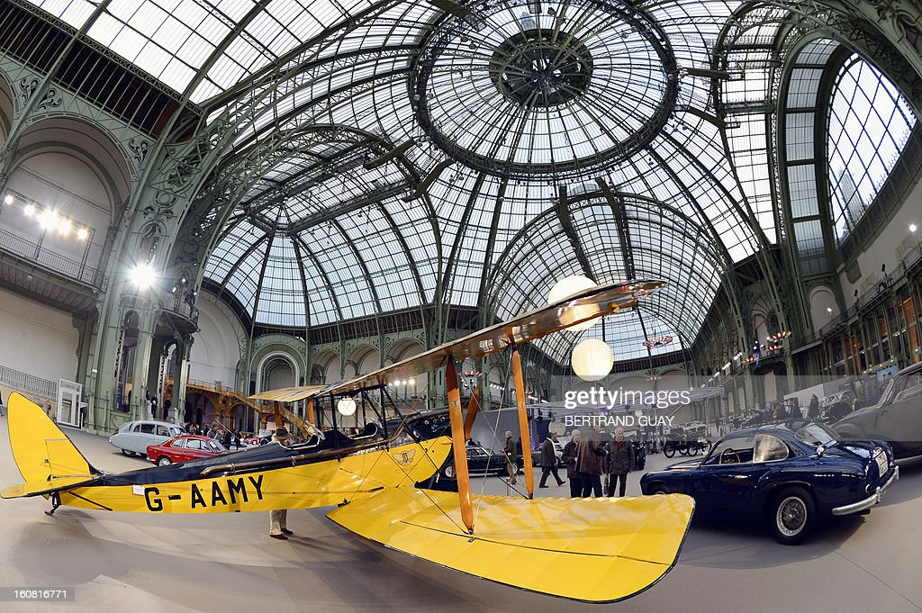 A Gipsy Moth De Havilland plane (1929) featured in the 'Out of Africa' film is displayed on February 6, 2013 at the Grand Palais in Paris on the eve of an auction of luxury vintage cars. 125 vintage motor cars, 100 collection motorbikes and a 1920's Gipsy Moth plane by De Havilland, will be auctionned at Bonhams on February 7.