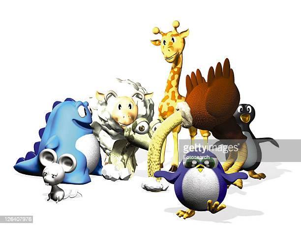 giraffe, penguin, mouse, animal, 3D, cute