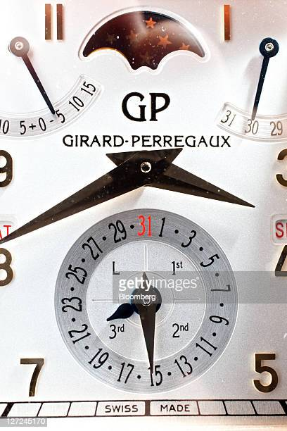 A GirardPerregaux ''vintage 1945 perpetual calendar equation of time'' wristwatch is seen at the company's production site in La ChauxdeFonds...