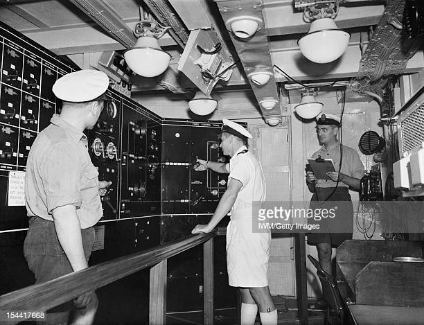 HMS Girdle Ness November 1958 On Board The Navy's Guided Weapons Trials Ship Control Rooms And Loading Spaces Of HMS Girdle Ness The missile loading...