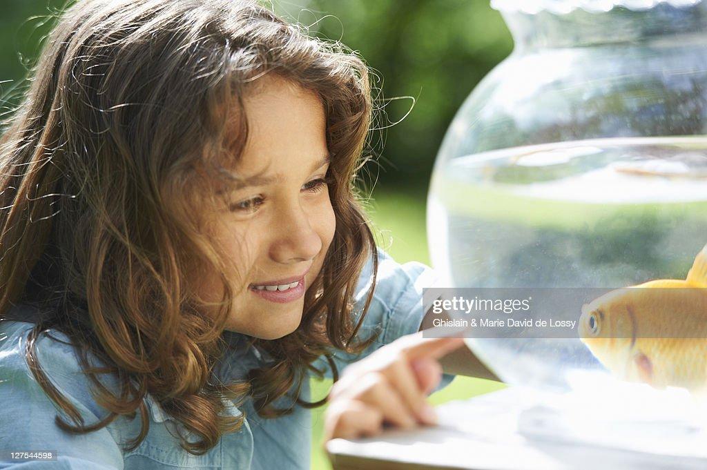 Girl admiring goldfish in bowl : Stock Photo