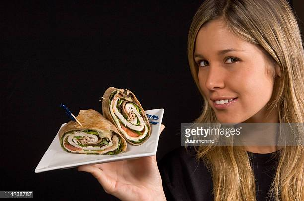 Girl and a Turkey Wrap