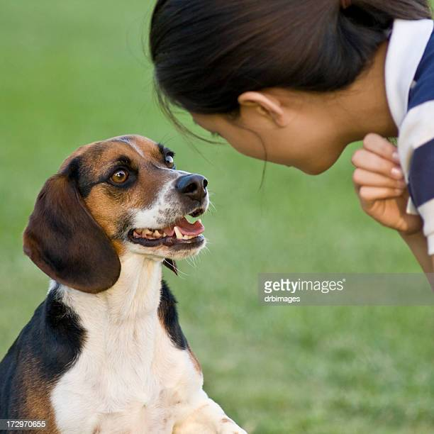 girl and beagle
