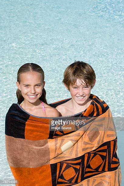 Girl and boy in a towel