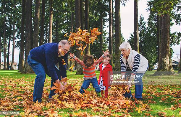Girl and boy with their grandparents, playing with autumn leaves