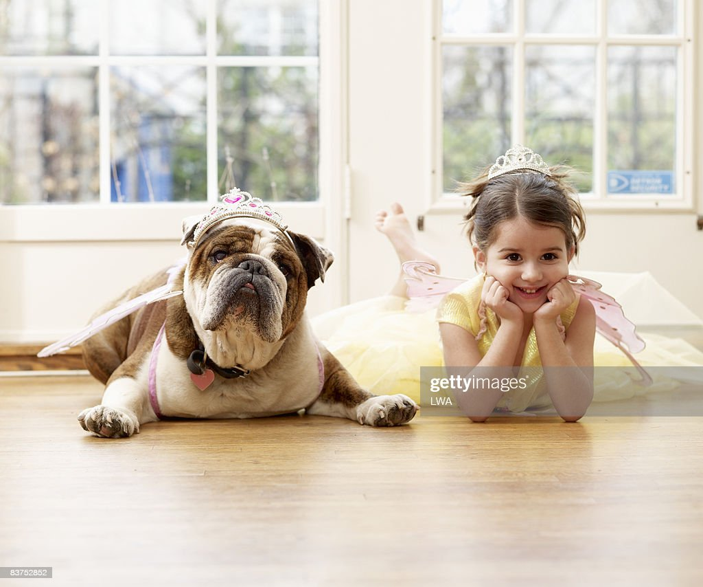 Girl and British Bulldog Playing Dressup : Stock Photo