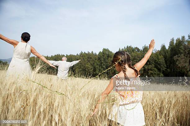 Girl (4-6) and grandparents playing aeroplanes in field, rear view