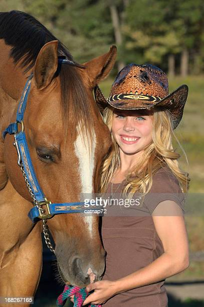 Girl and Horse Portrait, Pretty Blonde in Cowboy Hat
