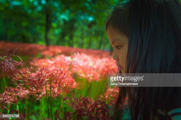 Girl and Red spider lily