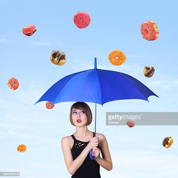 Girl and the falling donuts