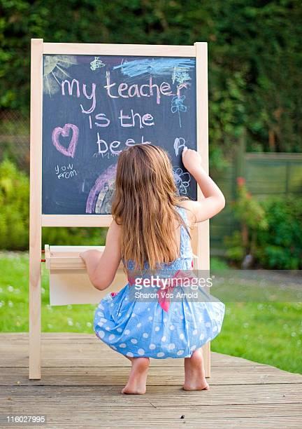 Girl artwork My teacher is the best on chalkboard