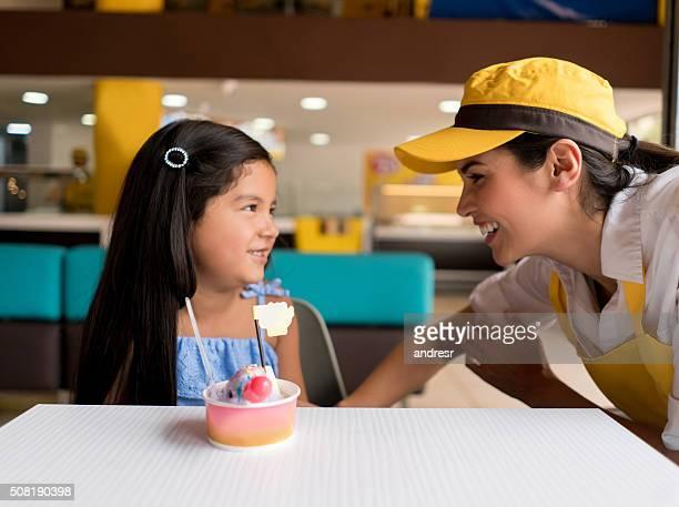 Girl at an ice cream shop