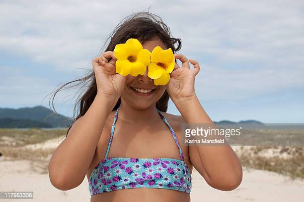 Girl at beach with yellow