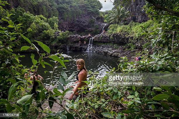 Girl at Seven Sacred Pools (The Pools of Oheo)