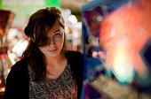 Girl at the amusement arcade