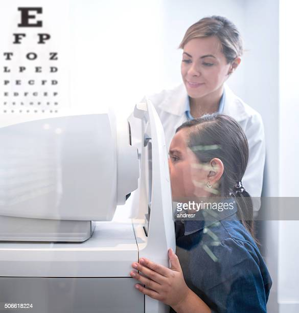Girl at the eye doctor